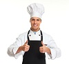 Young professional chef man isolated on white background.