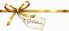 Goldene Schleife mit Gutschein-Etikett
